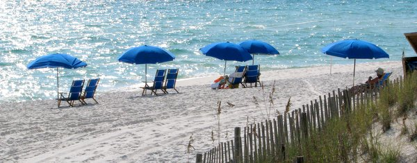 Florida panhandle beach with umbrellas. Santa Rosa Beach.